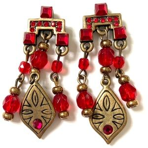 CHICOS RED Gold Dangle Earrings